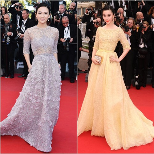 Zhang's gown by Elie Saab; Fan's gown and purse by Elie Saab