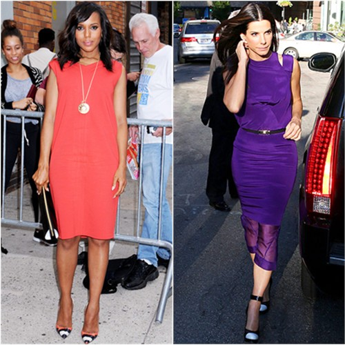 Kerry's dress by MaxMara, shoes by Christian Louboutin; Sandra's dress by Prabal Gurung, shoes by Casadei