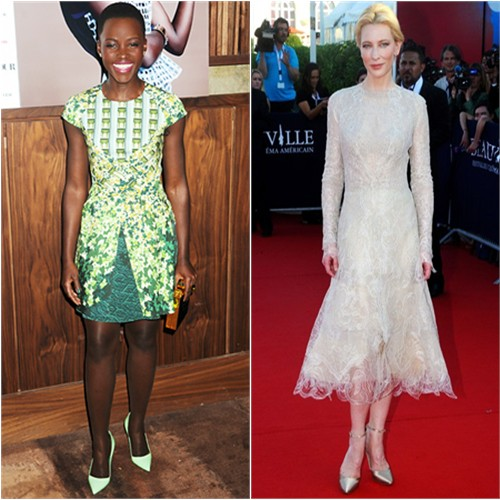 Lupita's dress by Peter Pilotto, purse by Michael Nelson, shoes by Manolo Blahnik; Cate's dress and shoes by Armani Privè