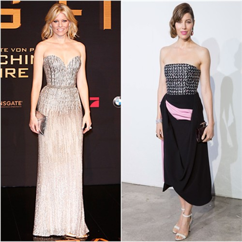Elizabeth's gown by Elie Saab, purse by Kara Ross; Jessica's top and skirt by Christian Dior