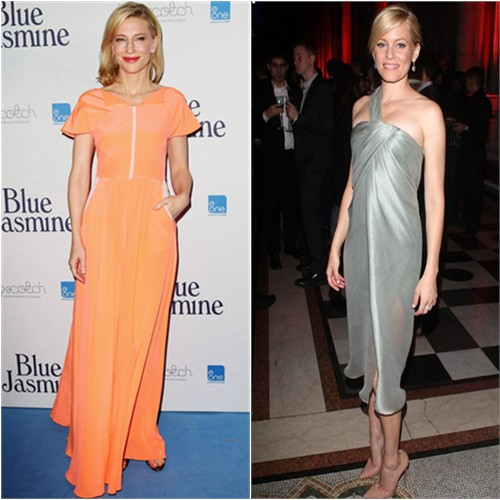 Cate's gown by Roksanda Ilincic; Elizabeth's dress by Jason Wu, shoes by Christian Louboutin
