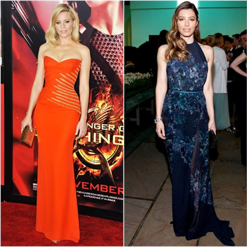 Elizabeth's gown by Versace, purse by Rauwolf; Jessica's gown by Elie Saab
