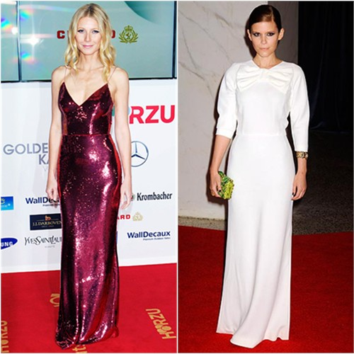 Gwyneth's gown by Prada; Kate's gown, purse, and shoes by Prada