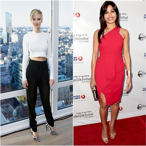 Jennifer's top and pants by Marc Jacobs; Freida's dress by Rachel Roy, purse by Thal Blanc, shoes by Charlotte Olympia
