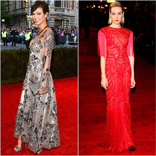 Karlie's dress by Louis Vuitton; Jena's gown by Monique Lhuillier