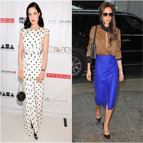 Dita's gown by Jenny Packham; Victoria's top, skirt, sunglasses, and purse by Victoria Beckham, shoes by Casadei