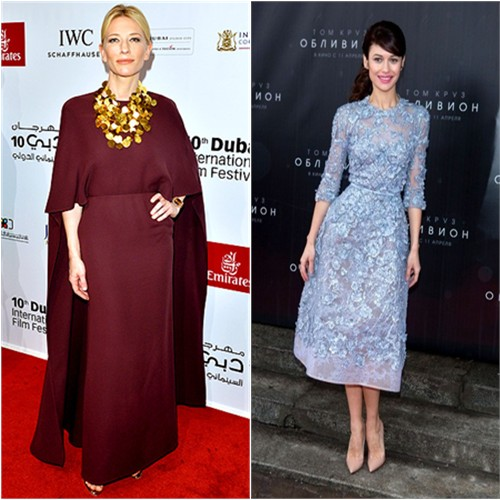 Cate's gown by Valentino, shoes by Christian Louboutin; Olga's dress by Elie Saab