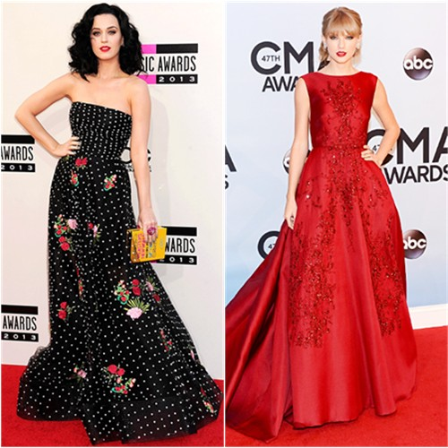 Katy's gown by Oscar de la Renta, purse by Olympia Le-Tan; Taylor's gown by Elie Saab