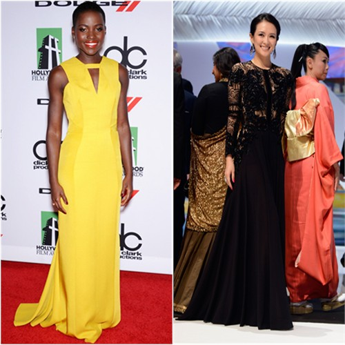 Lupita's gown by J. Mendel, purse by Judith Leiber; Zhang's gown by Elie Saab