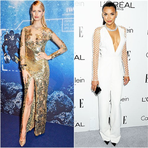 Karolina's gown by Julien Macdonald; Naya's jumpsuit by Pamella Roland, shoes by Jimmy Choo