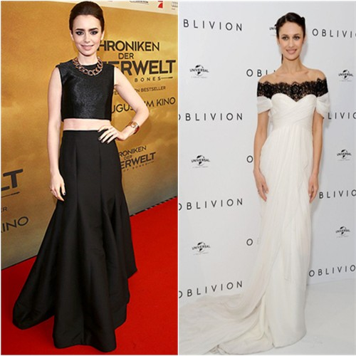 Lily's top by Paper London, skirt by Halston Heritage; Olga's gown by Marchesa, purse by Stark