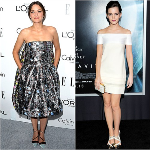 Marion's dress and shoes by Christian Dior; Emma's dress and shoes by J. Mendel