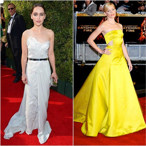 Emilia's gown by Donna Karan, purse by Rauwolf; Elizabeth's gown by Jason Wu