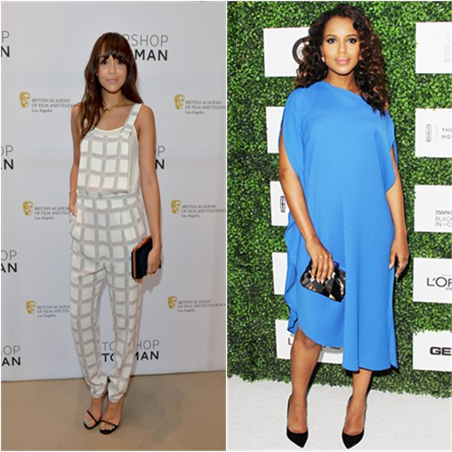 Ashley's jumpsuit by Topshop; Kerry's dress by Calvin Klein, purse by Emm Kuo, shoes by Jimmy Choo