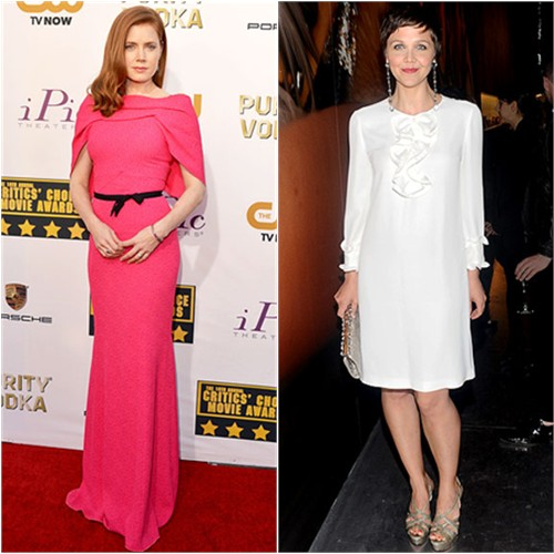 Amy's gown by Roland Mouret; Maggie's dress by Prada