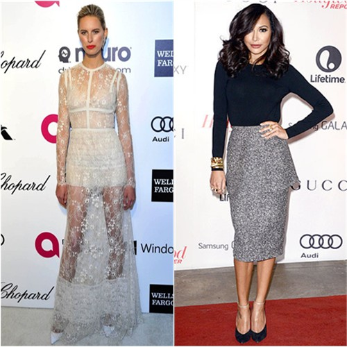 Karolina's gown by Elie Saab; Naya's top and skirt by Michael Kors, shoes by Casadei