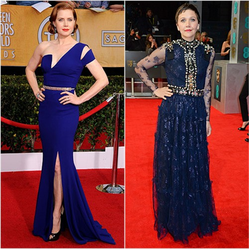 Amy's gown by Antonio Berardi, shoes by Jimmy Choo; Maggie's gown by Lanvin