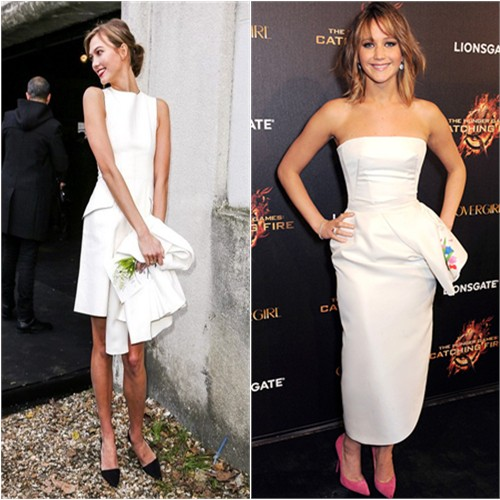 Karlie's dress by Christian Dior; Jennifer's dress by Christian Dior, shoes by Jimmy Choo