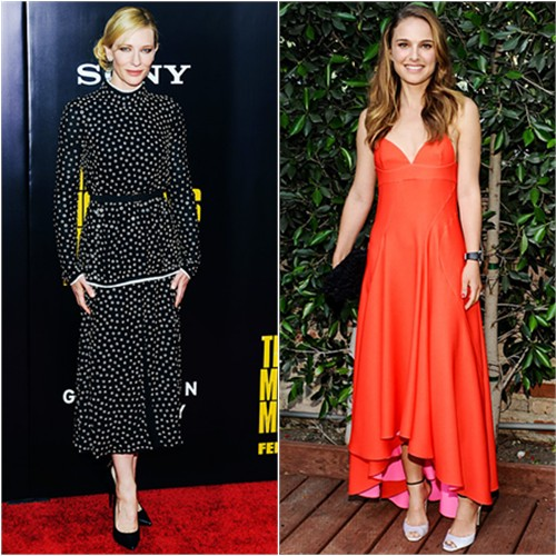 Cate's dress by Proenza Schouler, shoes by Giuseppe Zanotti; Natalie's dress, purse, and shoes by Christian Dior