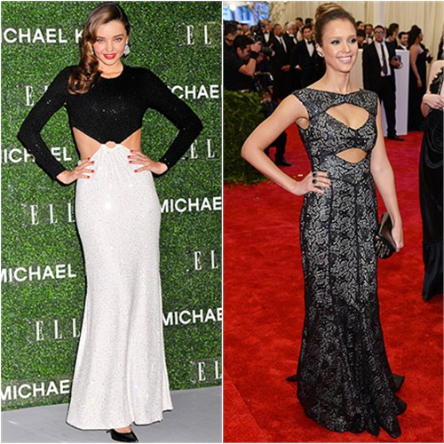 Miranda's gown by Michael Kors; Jessica's gown by Tory Burch, purse by Christian Louboutin