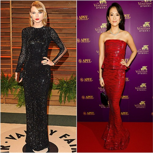 Taylor's gown by Julien Macdonald, purse by Emm Kuo; Zhang's gown by Armani Priv , purse by Charlotte Olympia