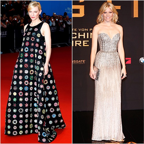 Cate's gown by Christian Dior; Elizabeth's gown by Elie Saab, purse by Kara Ross