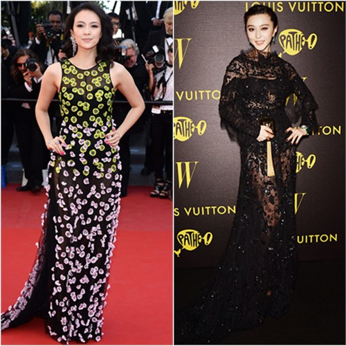 Zhang's gown by Christian Dior; Fan's gown by Elie Saab, purse by Louis Vuitton