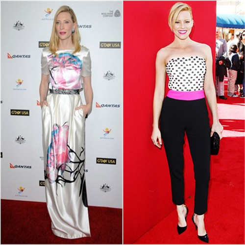 Cate's gown by Prabal Gurung; Elizabeth's jumpsuit by Osman, purse by Edie Parker, shoes by Jimmy Choo