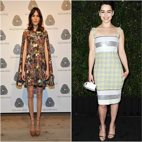 Alexa's dress by Valentino; Emilia's dress and purse by Chanel, shoes by Manolo Blahnik