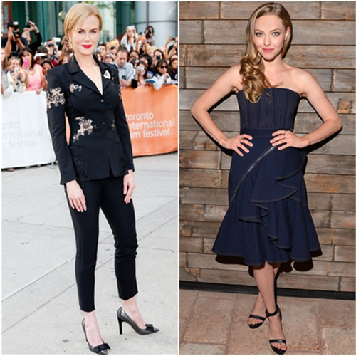 Nicole's suit by Altuzarra, shoes by Louis Vuitton; Amanda's dress and shoes by Givenchy