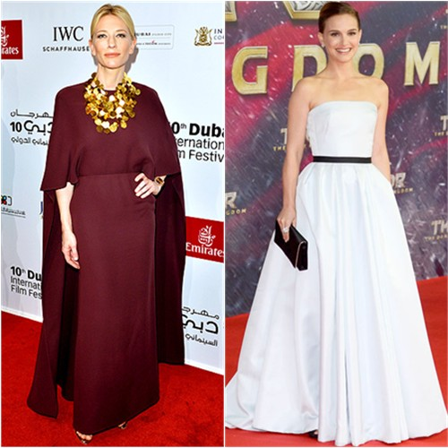 Cate's gown by Valentino, shoes by Christian Louboutin; Natalie's gown and purse by Christian Dior