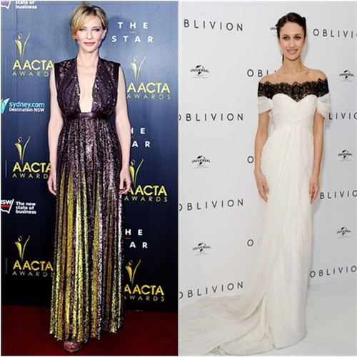 Cate's gown by Givenchy; Olga's gown by Marchesa, purse by Stark