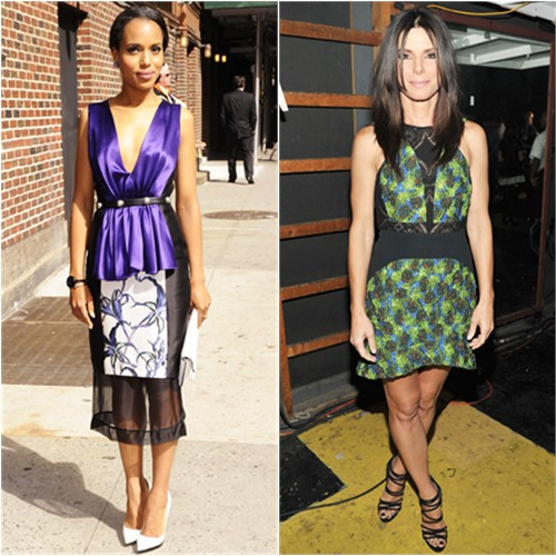 Kerry's dress by Prabal Gurung, purse by Smythson; Sandra's dress by Antonio Berardi, shoes by Casadei