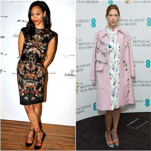 Zoe's dress and shoes by Alexander McQueen; Léa's coat by Prada, dress and shoes by Miu Miu
