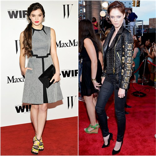 Hailee's dress by Sportmax, shoes by Jimmy Choo; Coco's jacket by Fausto Puglisi
