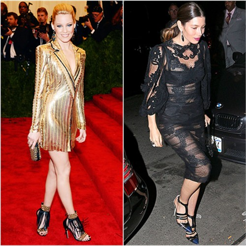 Elizabeth's dress by Atelier Versace, purse and shoes by Brian Atwood; Jessica's dress by Dolce & Gabbana