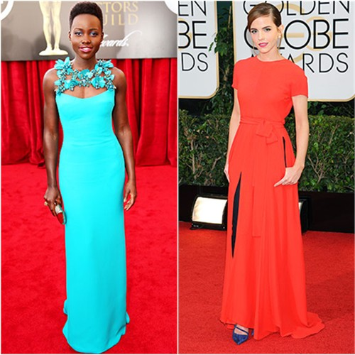 Lupita's gown by Gucci; Emma's gown by Christian Dior, shoes by Roger Vivier