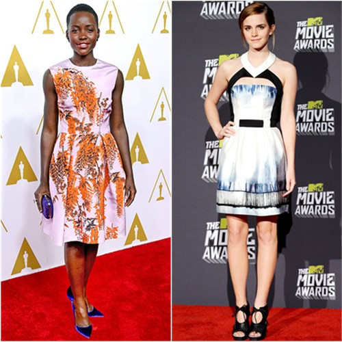 Lupita's dress by Christian Dior, purse by Judith Leiber, shoes by Paul Andrew; Emma's dress by Maxime Simoens, shoes by Proenza Schouler