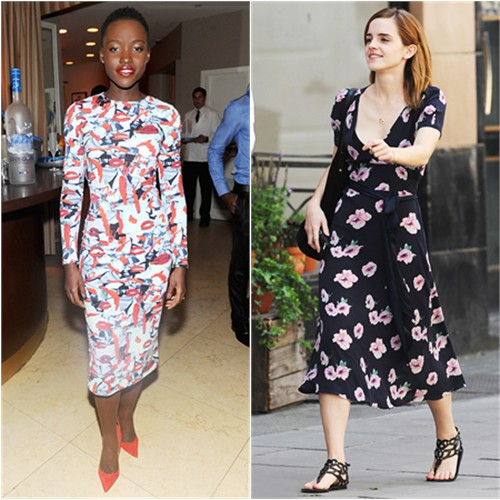 Lupita's dress by Jonathan Cohen; Emma's dress by Candela, shoes by Ancient Greek