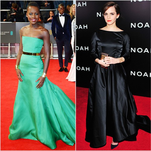 Lupita's gown by Christian Dior; Emma's gown by Oscar de la Renta, purse by Roger Vivier, shoes by Christian Louboutin