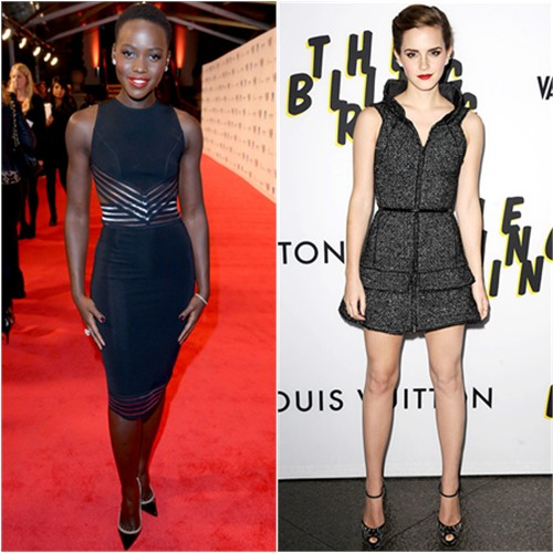 Lupita's dress by Christopher Kane, shoes by Christian Louboutin; Emma's dress by Chanel, shoes by Giuseppe Zanotti