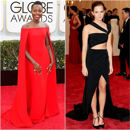 Lupita's gown by Ralph Lauren; Emma's gown by Prabal Gurung