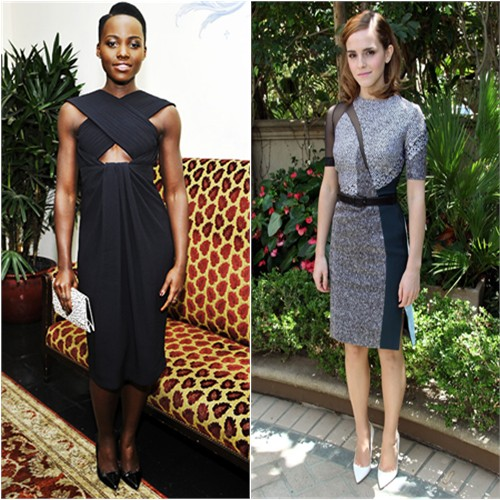 Lupita's dress, purse, and shoes by Proenza Schouler; Emma's dress by Antonio Berardi