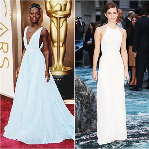 Lupita's gown by Prada; Emma's gown by Ralph Lauren, purse by Jimmy Choo