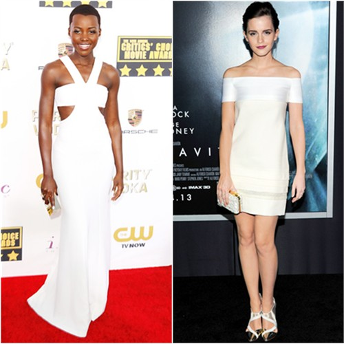 Lupita's gown and purse by Calvin Klein; Emma's dress and shoes by J. Mendel