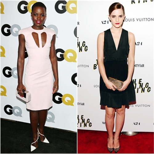 Lupita's dress by Cushnie et Ochs, purse by Devi Kroell, shoes by Christian Louboutin; Emma's purse by Salvatore Ferragamo, shoes by Christian Louboutin