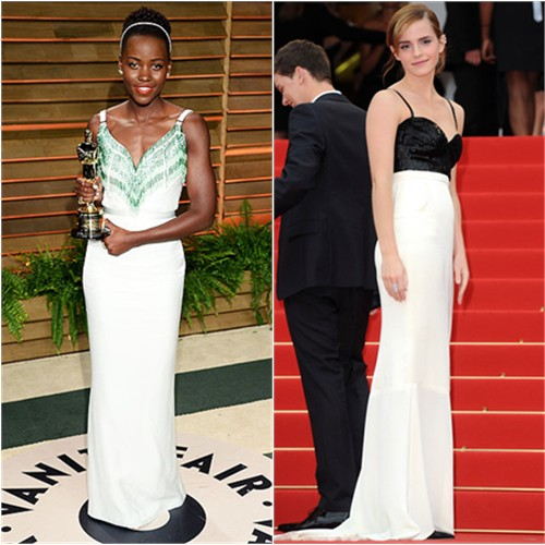 Lupita's gown by Miu Miu; Emma's gown by Chanel