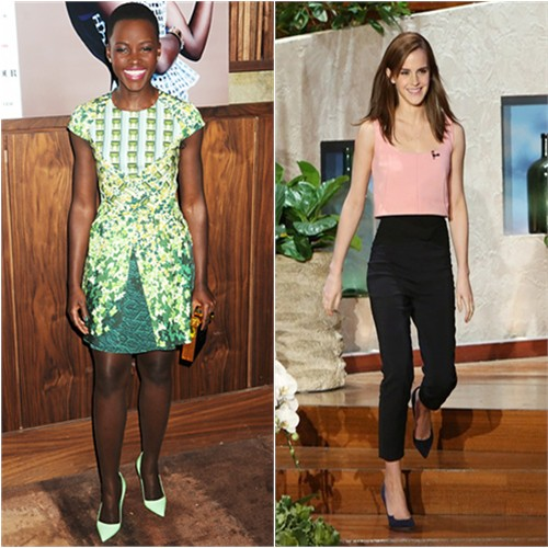 Lupita's dress by Peter Pilotto, purse by Michael Nelson, shoes by Manolo Blahnik; Emma's top and pants by Osman