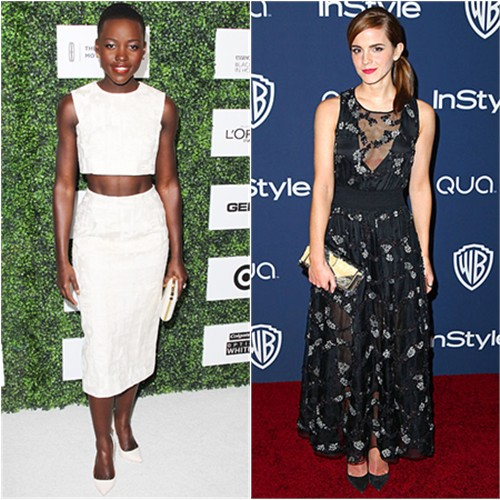 Lupita's top and skirt by Giambattista Valli, purse by Elie Saab, shoes by Sophia Webster; Emma's gown by Theory, purse by Edie Parker, shoes by Christian Louboutin