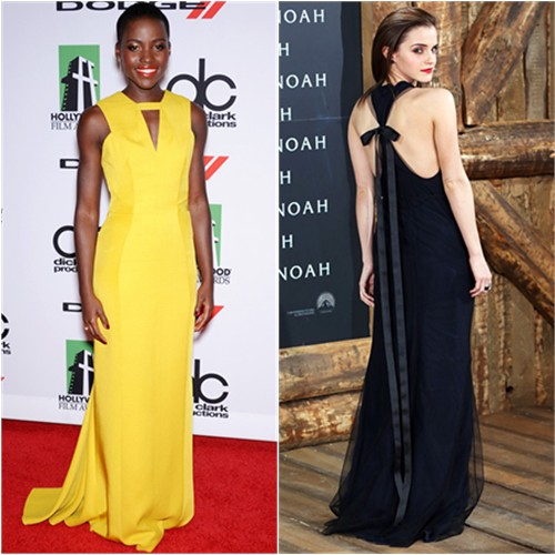 Lupita's gown by J. Mendel, purse by Judith Leiber; Emma's gown by Wes Gordon